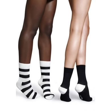 Černobílé ponožky Happy Socks, dva páry