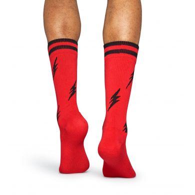 Červené ponožky Happy Socks s čiernymi bleskami, vzor Flash // kolekcia Athletic