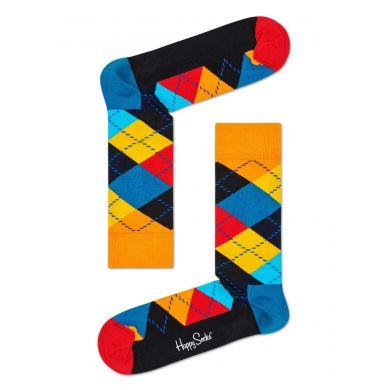 Žlto-modré ponožky s károvaným vzorom Argyle