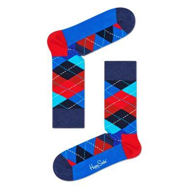 Červeno-modré ponožky s károvaným vzorom Argyle