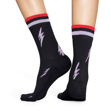 Čierne ponožky Happy Socks s bleskmi, vzor Flash // KOLEKCIA ATHLETIC