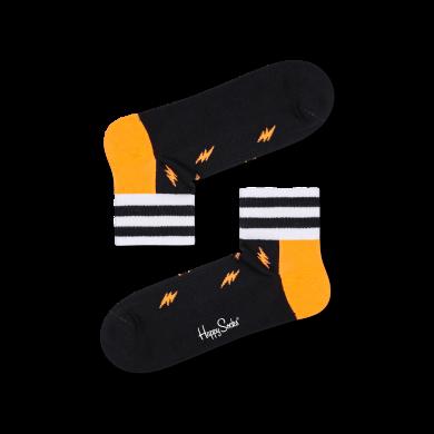 Čierne nízke ponožky Happy Socks s bleskami, vzor Small Flash // KOLEKCIA ATHLETIC