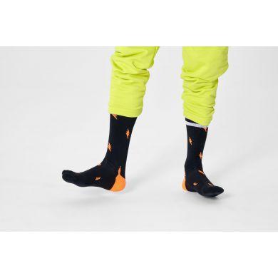 Čierne ponožky Happy Socks s bleskami, vzor Small Flash // KOLEKCIA ATHLETIC