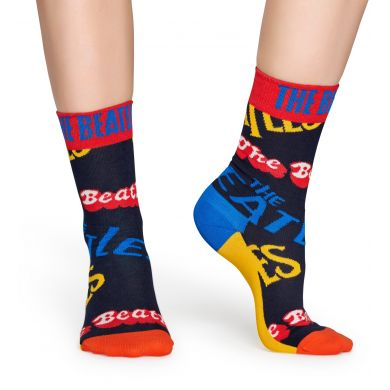 Modré ponožky s nápismi Beatles z kolekcie Happy Socks x Beatles, vzor In The Name Of