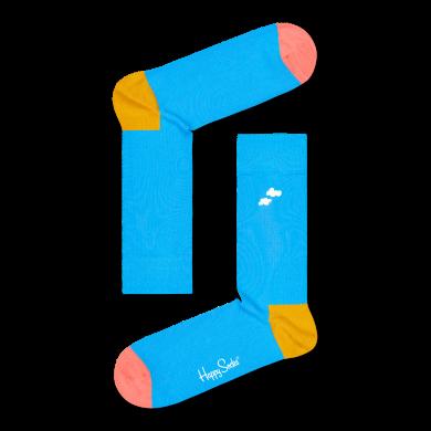 Modré ponožky Happy Socks s vyšitým oblakom, vzor Cloudy