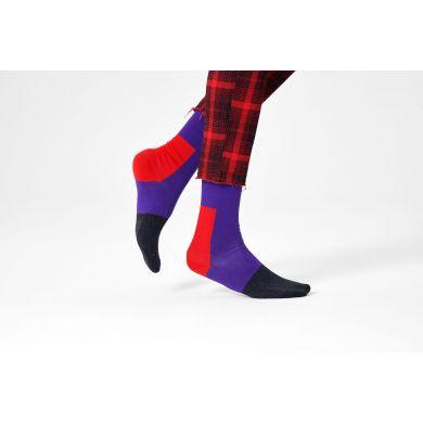 Fialovo-červené ponožky Happy Socks, vzor Blocked
