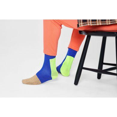 Modro-žlté ponožky Happy Socks, vzor Blocked