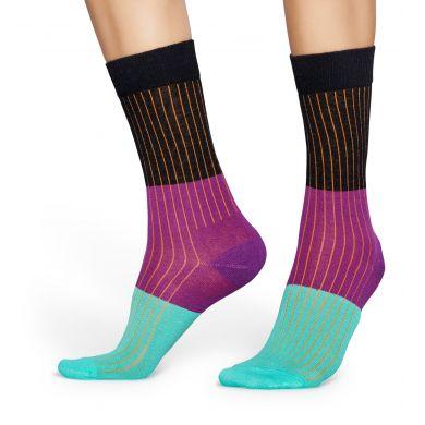 Čierno-fialové ponožky Happy Socks s prúžkovaným vzorom, vzor Block Rib