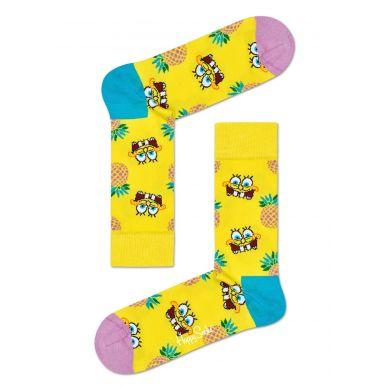 Žlté ponožky s ananásmi z kolekcie Happy Socks x Sponge Bob, vzor Pineapple Surprise