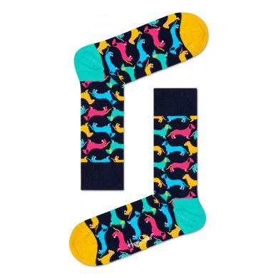 Tmavomodré ponožky Happy Socks s farebnými jazvečíkmi, vzor Dog
