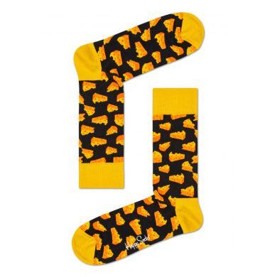 Žlto-čierne ponožky Happy Socks so syrom, vzor Cheeso