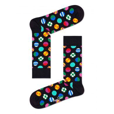 Čierne ponožky Happy Socks s farebnými bodkami, vzor Clashing Dot