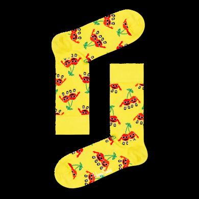 Žlté ponožky Happy Socks s čerešňami, vzor Cherry Mates