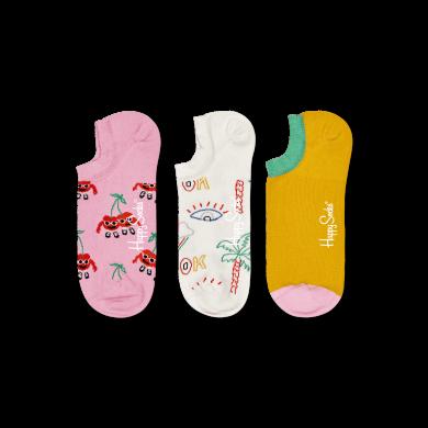 Nízke ponožky Happy Socks, vzor Cherry Mates - 3 páry