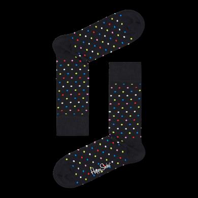 Čierne ponožky Happy Socks s farebnými bodkami, vzor Dot