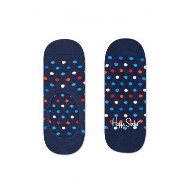 Modré nízke vykrojené ponožky Happy Socks s farebnými bodkami, vzor Dot