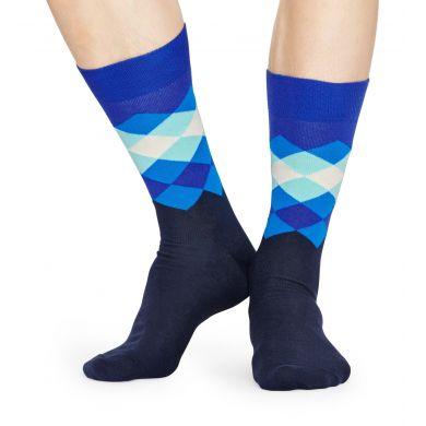 Modré ponožky Happy Socks so vzorom Faded Diamond
