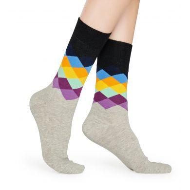 Šedo-čierne ponožky Happy Socks s farebným vzorom Faded Diamond