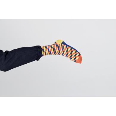 Modro-oranžové ponožky Happy Socks so vzorom Filled Optic