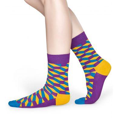 Fialovo-žlté ponožky Happy Socks s geometrickým vzorom Filled Optic