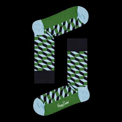 Zeleno-modré ponožky Happy Socks so vzorom Filled Optic