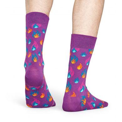 Fialové ponožky Happy Socks s plameňmi, vzor Flames