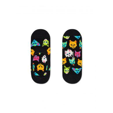 Nízke čierne ponožky Happy Socks s mačkami, vzor Funny Cat