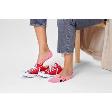 Ružové nízke ponožky Happy Socks so srdcami, vzor I Heart U