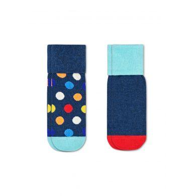 Detské modré protišmykové ponožky Happy Socks s farebnými bodkami, vzor Big Dot - dva páry