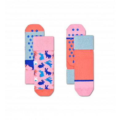 Detské protišmykové ponožky Happy Socks, vzor Bunny - 2 páry