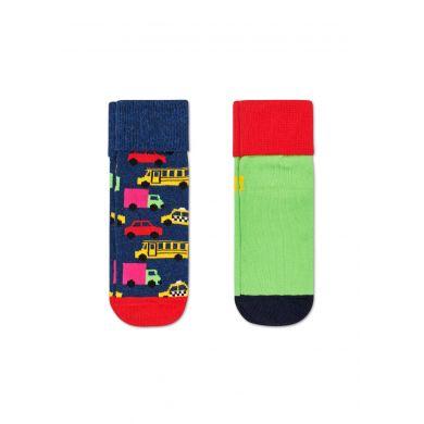 Detské protišmykové ponožky Happy Socks s autíčkami, vzor Cars - dva páry