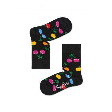 Detské čierne ponožky Happy Socks s farebnými čerešničkami, vzor Cherry
