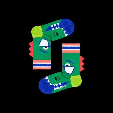 Detské zelené ponožky Happy Socks s dinosaurom, vzor Cool Dino