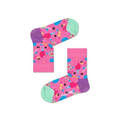 Detské ružové ponožky Happy Socks s bonbónmi, vzor Cotton Candy
