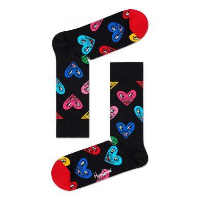 Čierne ponožky z kolekcie Happy Socks x Keith Haring, vzor Heart