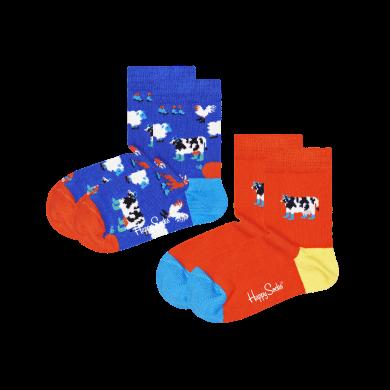 Detské ponožky Happy Socks s kravičkami, vzor Farmlife - 2 páry