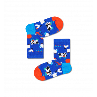 Detské modré ponožky Happy Socks, vzor Farmcrew
