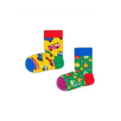 Detské ponožky Happy Socks s hasičským autom a ohníkom, vzor On Fire - dva páry