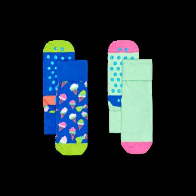 Detské protišmykové ponožky Happy Socks, vzor Ice Cream - 2 páry