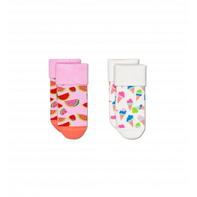 Detské ponožky Happy Socks pre miminká, vzor Ice Cream - 2 páry