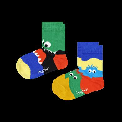 Detské ponožky Happy Socks s príšerkami, vzor Monsters - 2 páry