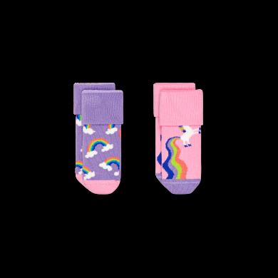 Detské ponožky Happy Socks pre miminká, vzor Rainbow & Unicorn - 2 páry