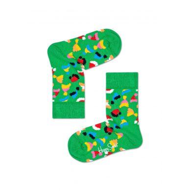 Detské zelené ponožky Happy Socks s čiapočkami, vzor Santas Hats