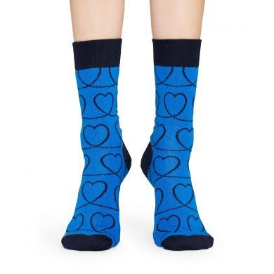Modré ponožky Happy Socks s čiernymi srdcami