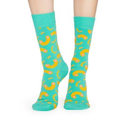 Tyrkysové ponožky Happy Socks s makarónmi, vzor Macaroni