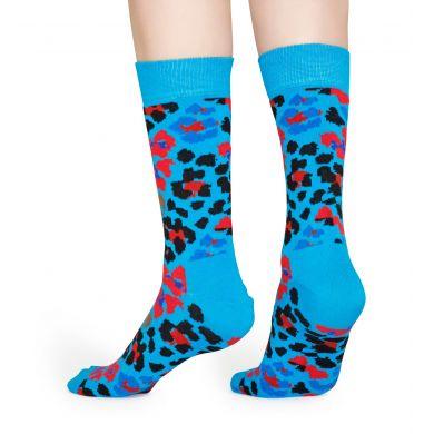 Modré ponožky Happy Socks s leopardím vzorom, vzor Multi Leopard