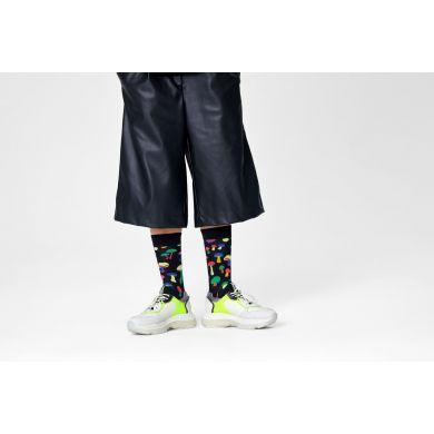 Čierne ponožky Happy Socks s hríbmi, vzor Mushroom