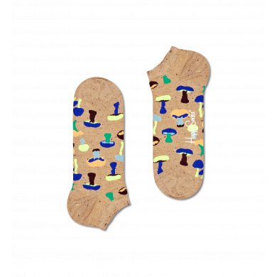 Béžové nízke ponožky Happy Socks s hríbmi, vzor Mushroom