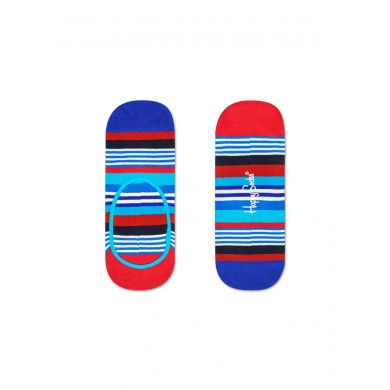 Modré nízke ponožky Happy Socks s farebnými prúžkami, vzor Multi Stripe