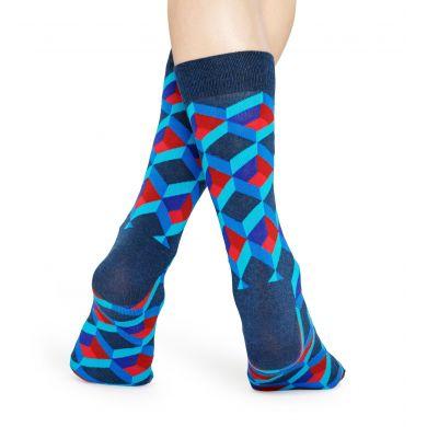 Modré ponožky Happy Socks, vzor Optic Square